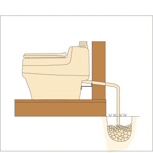 Composting Toilet urine drain pit.